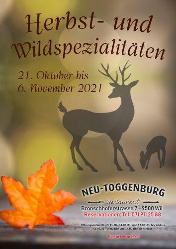Herbst- und Wildspezialitäten Restaurant Neu-Toggenburg Wil